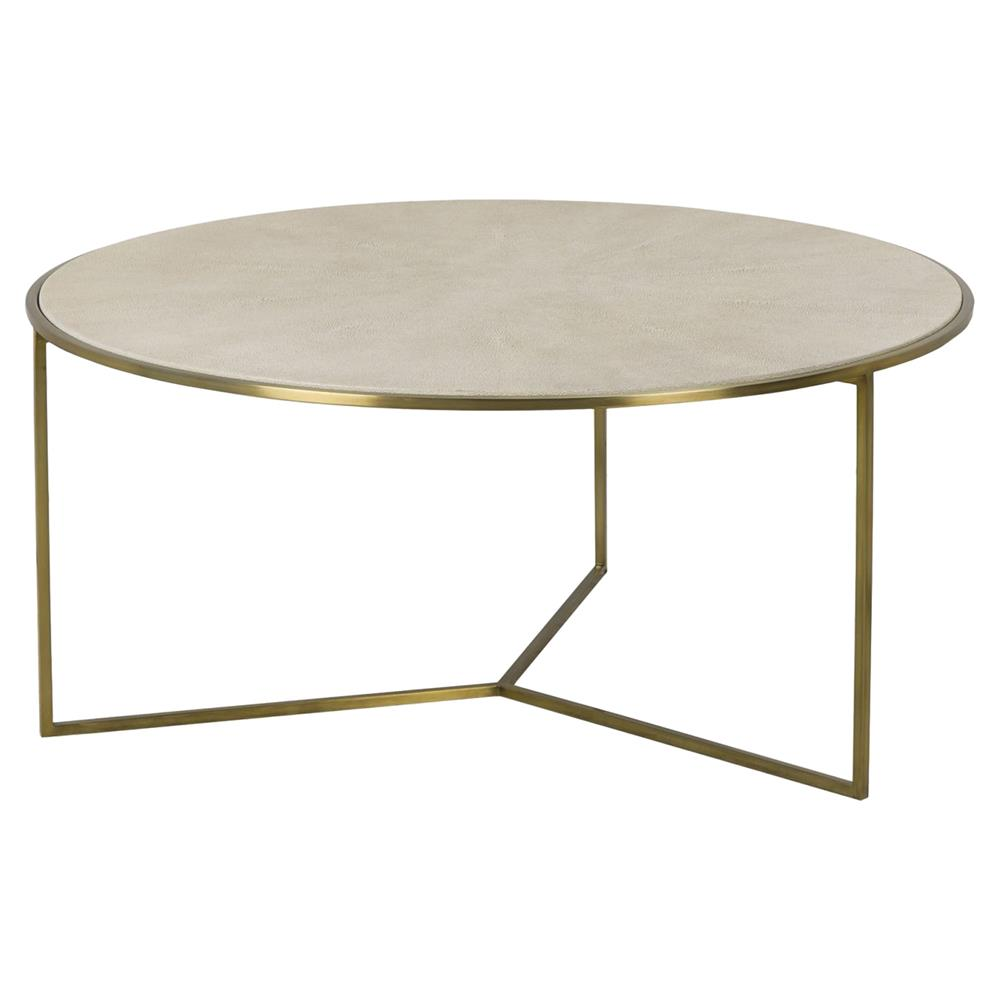 Farlane regency linen shagreen round brass coffee table kathy kuo home Brass round coffee table