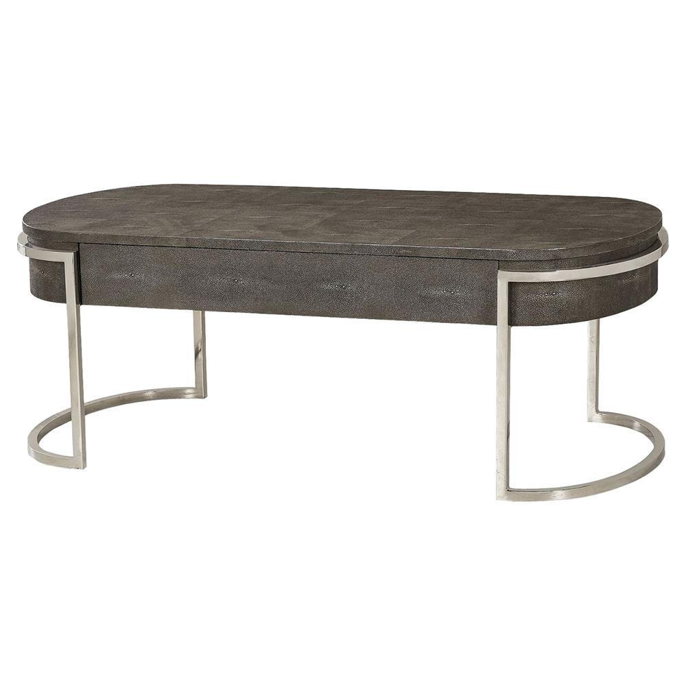 Antique Nickel Coffee Table: Resource Decor Ashburn Charcoal Shagreen Oval Nickel