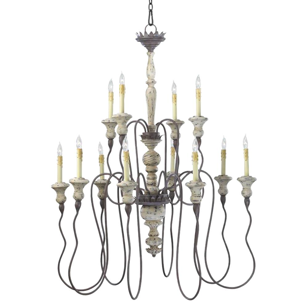 Provence french country white and grey wash 12 light chandelier kathy kuo home - Lights and chandeliers ...