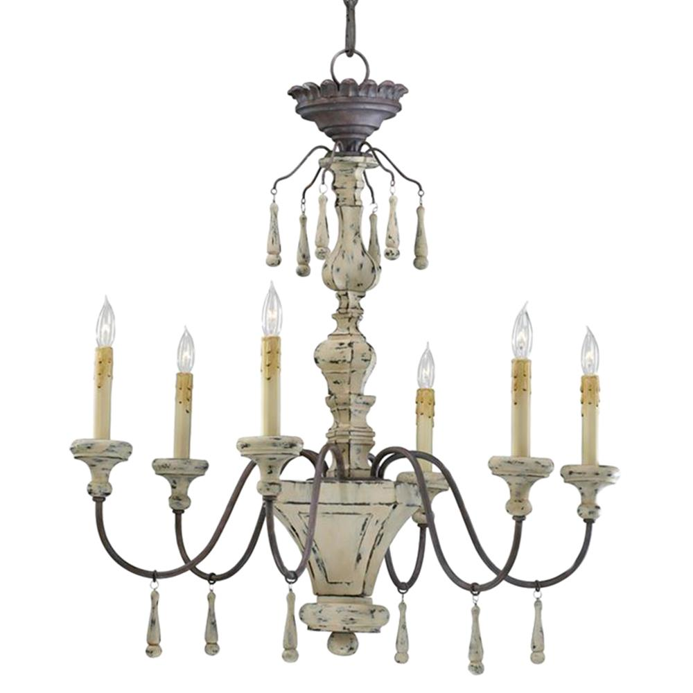 Provence french country white and grey wash 6 light chandelier French country chandelier