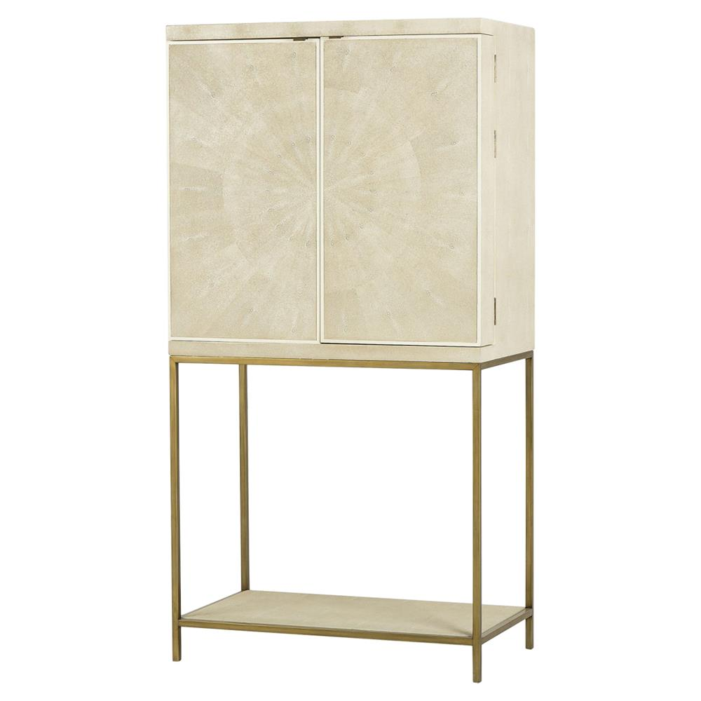 Lamar Regency Cream Shagreen Brass Bar Cabinet   Kathy Kuo Home