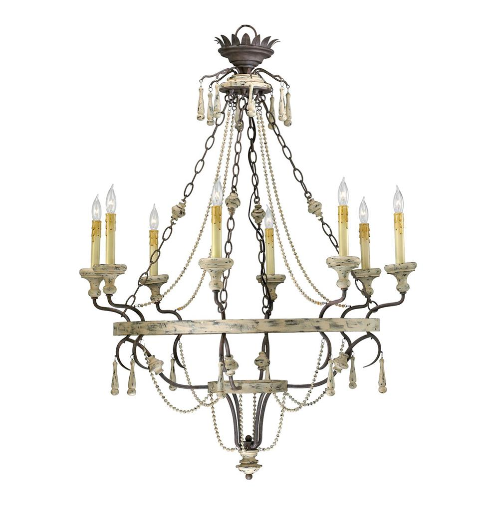 Provence french country white and gray wash 8 light French country chandelier