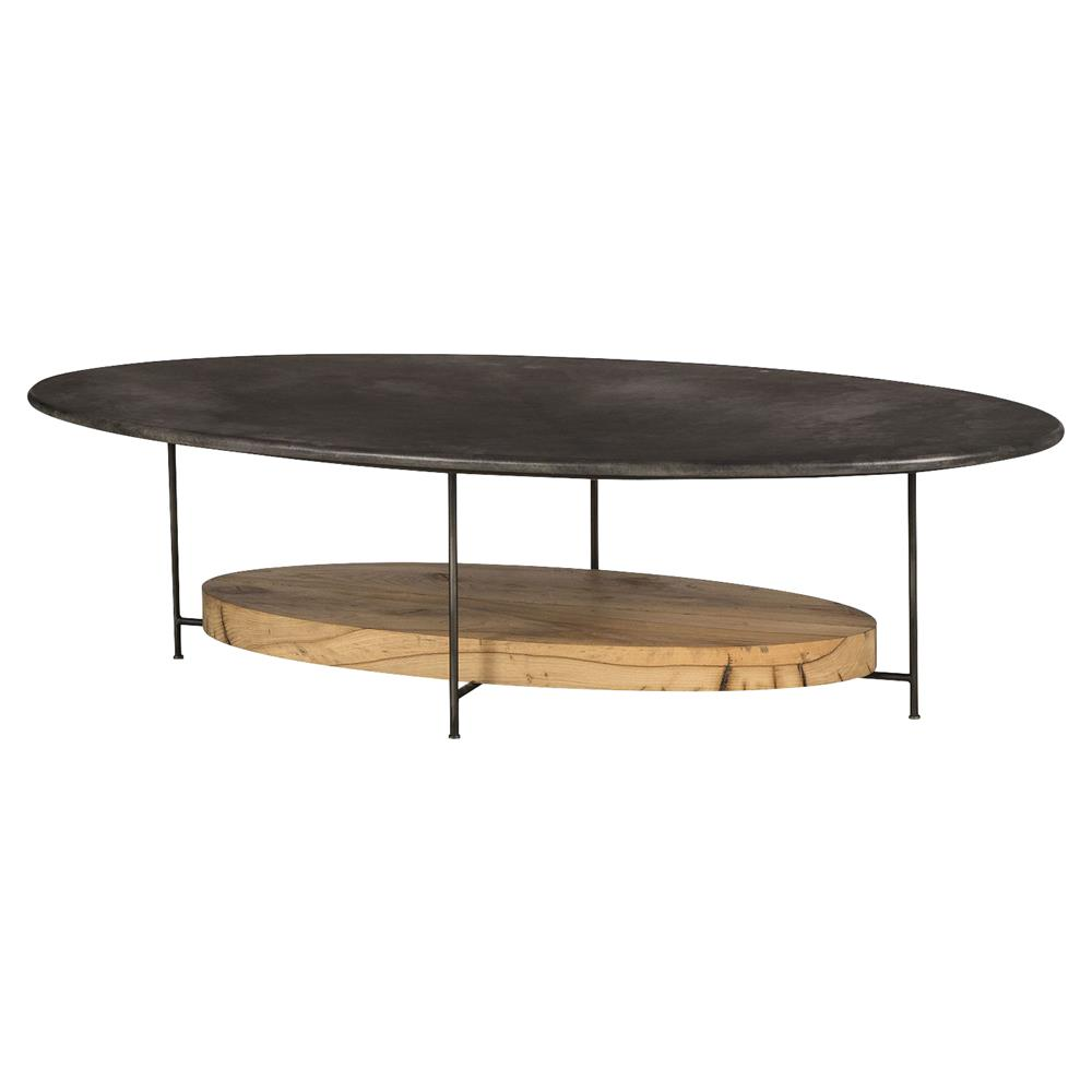 Tagg Lodge Charcoal Vellum Oval Oak Coffee Table Kathy Kuo Home