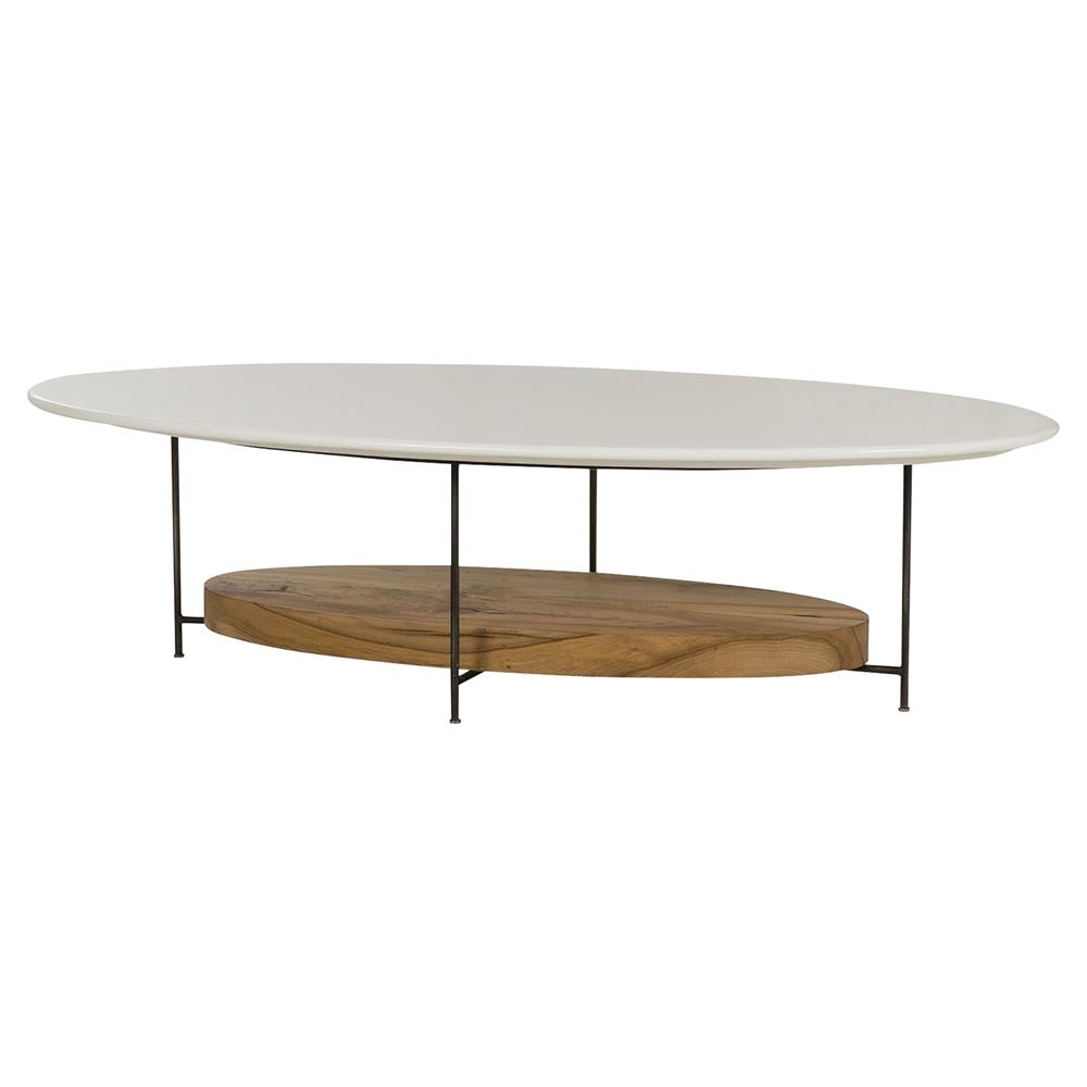 Resource Decor Mid Century Olivia Lodge White Lacquer Oval Oak Coffee Table  | Kathy Kuo Home ...