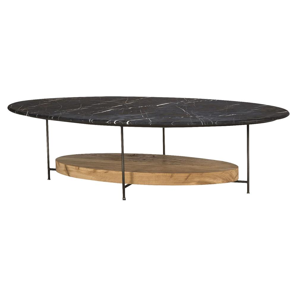 Tagg Lodge Black Marble Oval Oak Coffee Table Kathy Kuo Home