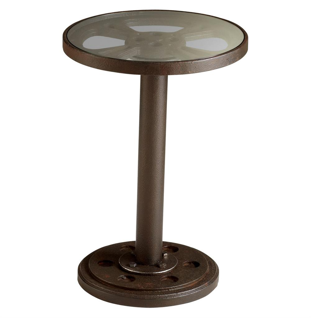 Rockford gear top industrial rustic side table kathy kuo for Rustic side table