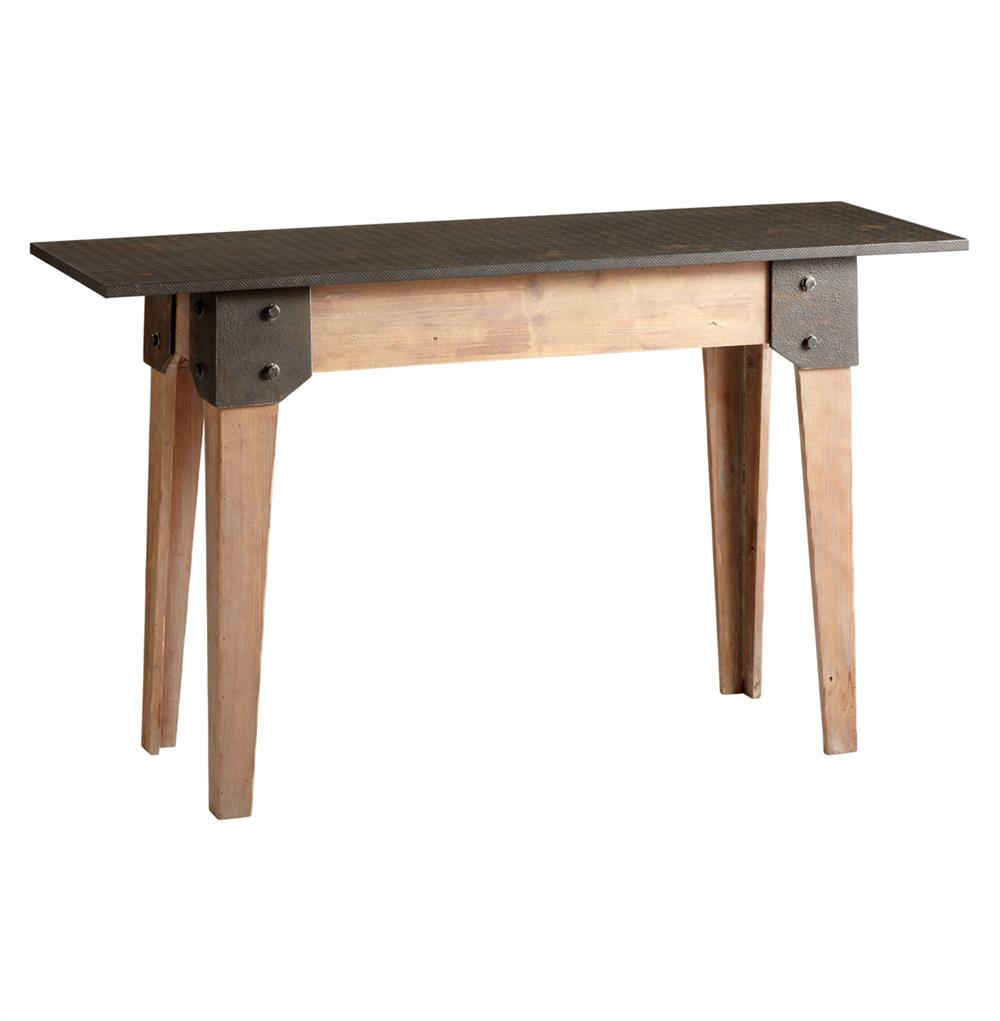 masa wood raw steel rustic console table kathy kuo home. Black Bedroom Furniture Sets. Home Design Ideas