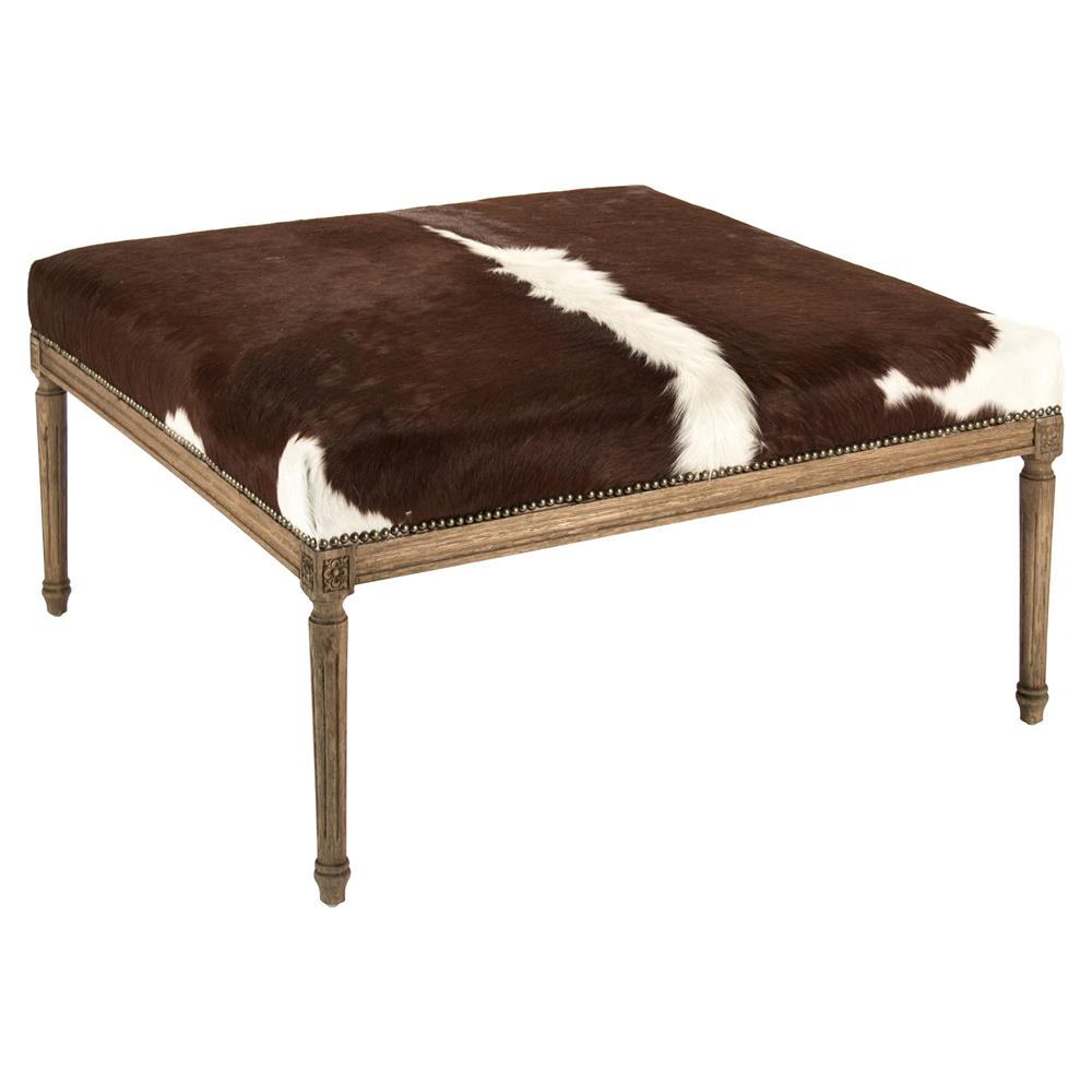 Daxton Rustic Lodge Spotted Cowhide Oak Ottoman Kathy Kuo Home
