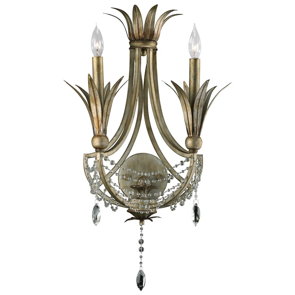 Wall Sconces Silver : Luciana 2 Light Antique Gold Silver Deco Wall Sconce Kathy Kuo Home