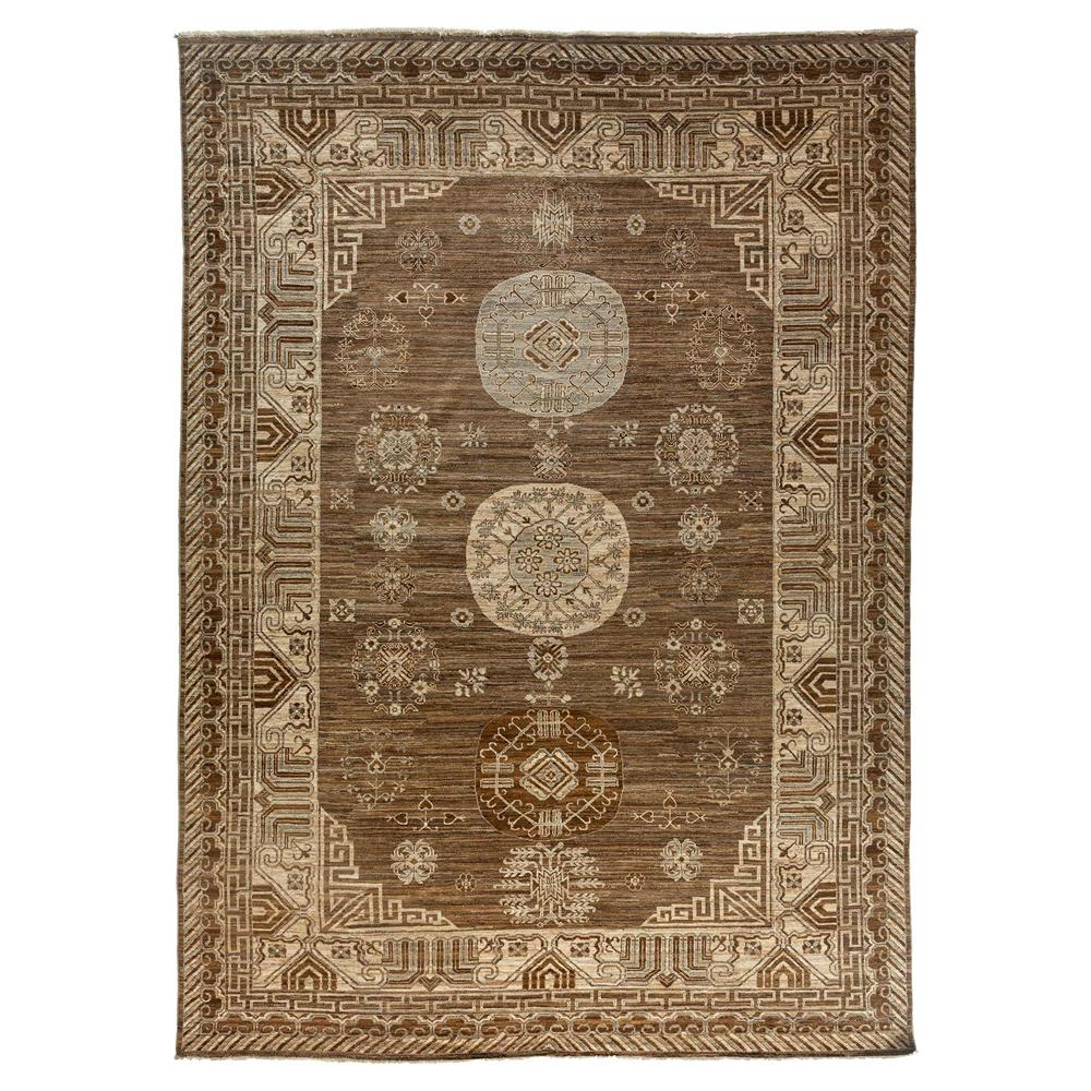 Country French Antique Brown Khotan Wool Rug