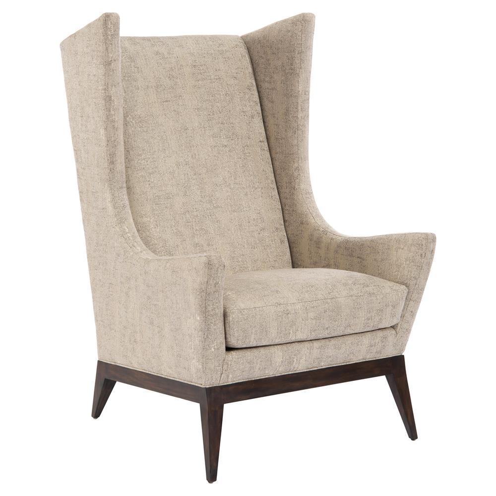 John Richard Ionia Retro Mid Century Beige Upholstered Wing Chair | Kathy  Kuo Home ...