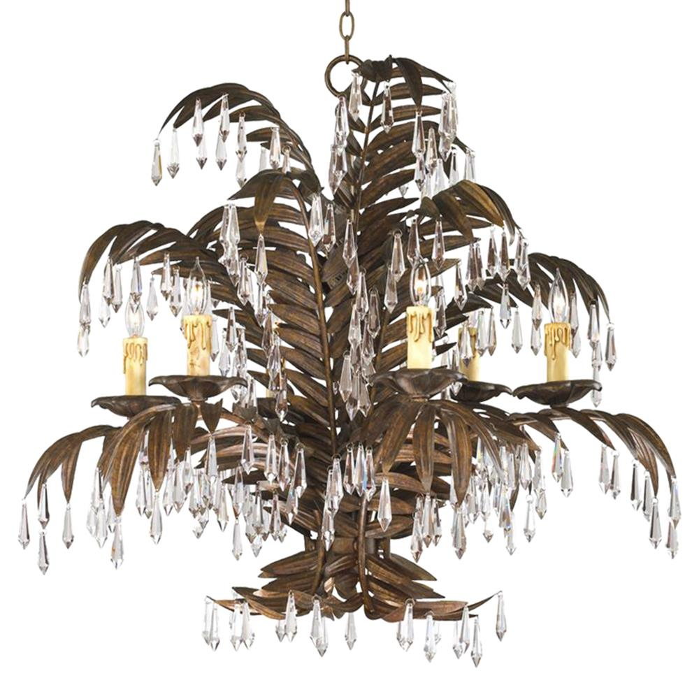 Largo 6 light antique brass palm frond coastal beach crystal chandelier largo 6 light antique brass palm frond coastal beach crystal chandelier kathy kuo home arubaitofo Image collections