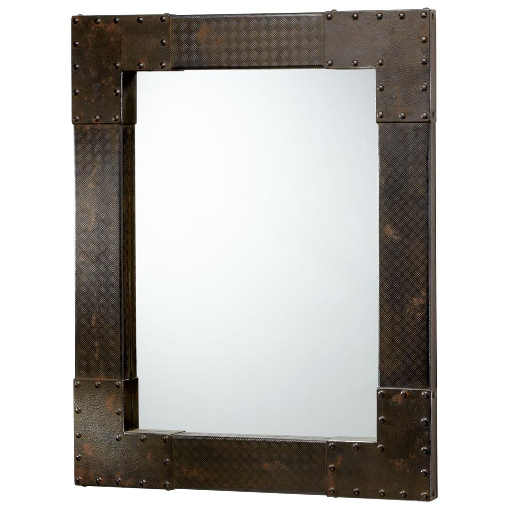 Lasalle industrial metal iron modern rectangle wall mirror for Modern mirrors