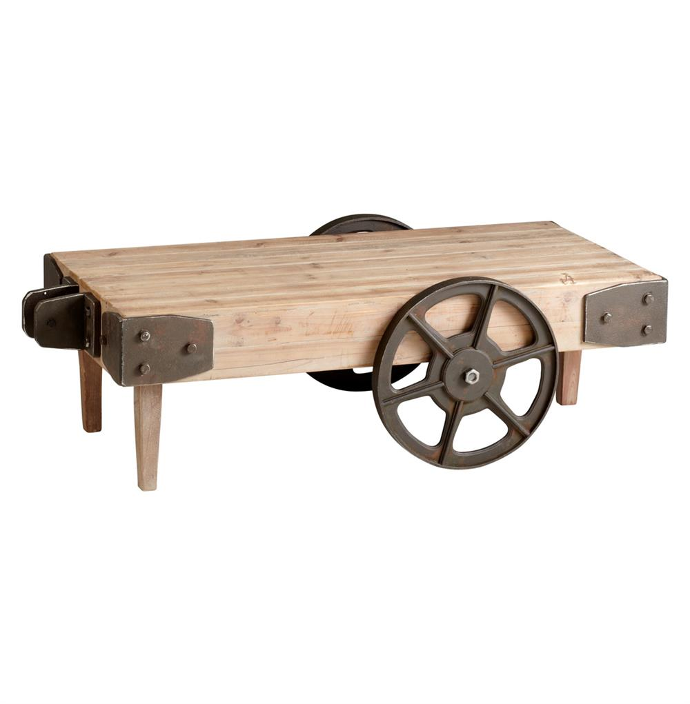 Wilcox industrial rustic wagon cart coffee table kathy for Coffee tables on wheels