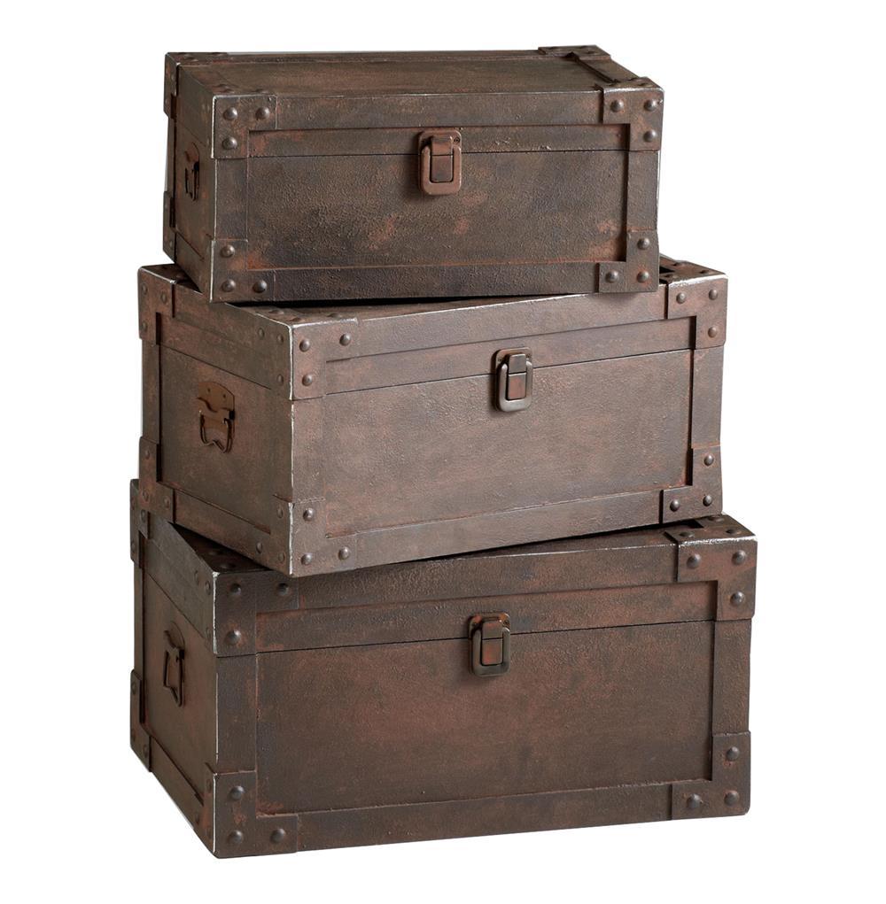 Set of 3 yuma industrial loft iron stacking storage trunk kathy kuo home - Footlockers storage ...