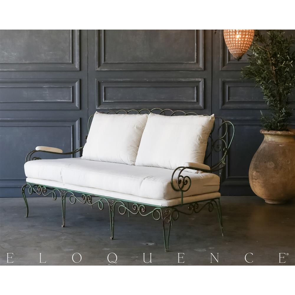 Marvelous Eloquence® Vintage Steel Forest Green Garden Settee: 1940 | Kathy Kuo Home