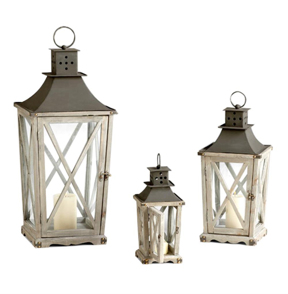 Set of 3 cornwall rustic weathered wood metal candle lanterns for Decor lanterns