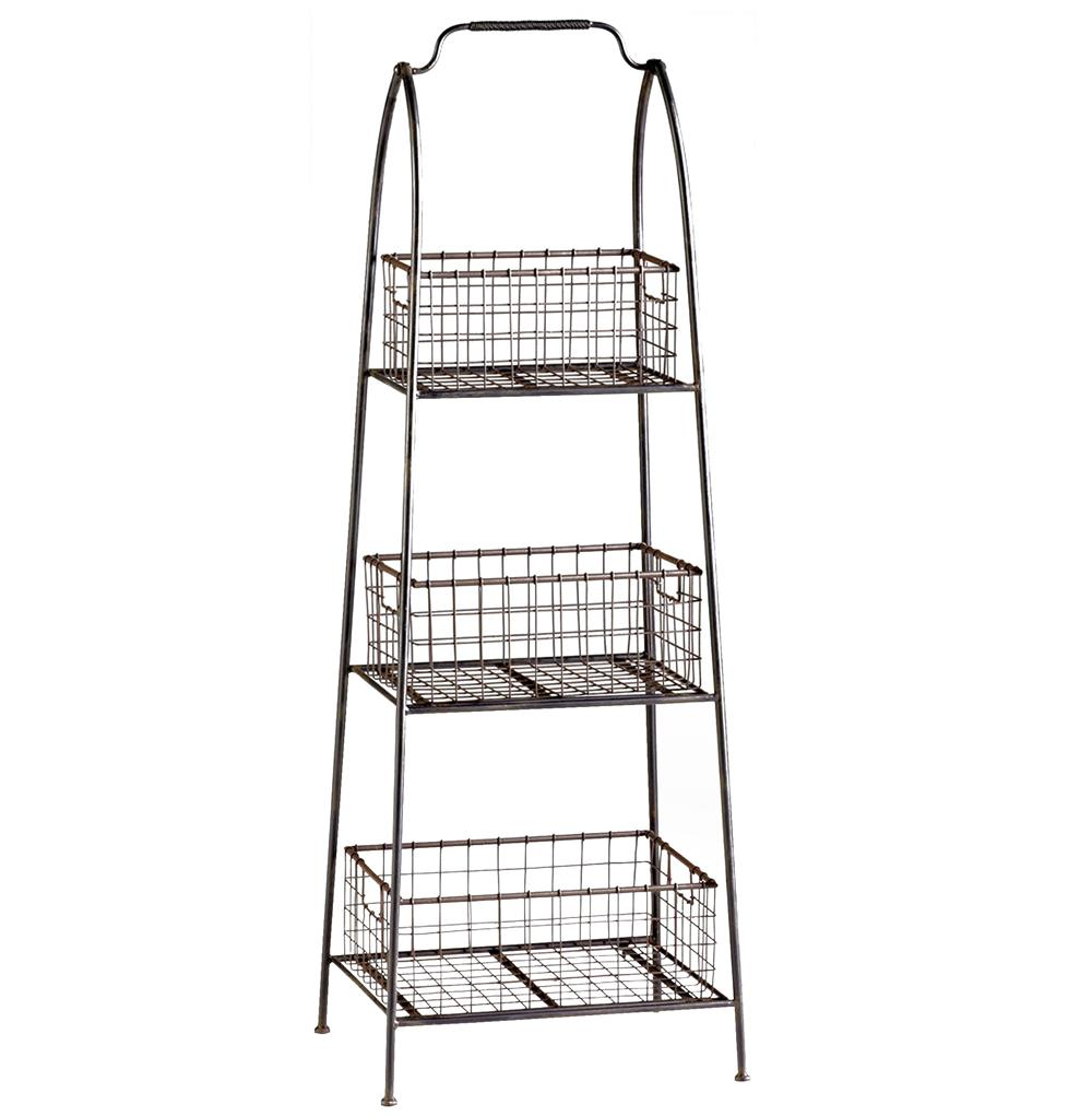 Well-known Essex Farmhouse Cottage Floor Standing Basket Shelf | Kathy Kuo Home XR98