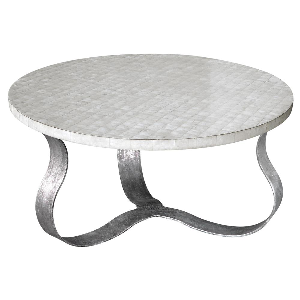 Pico oly white shell antique silver coffee table kathy kuo home geotapseo Image collections