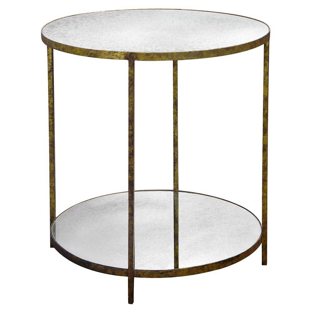 Oly studio jonathan antique mirror round gold end table for Round gold side table