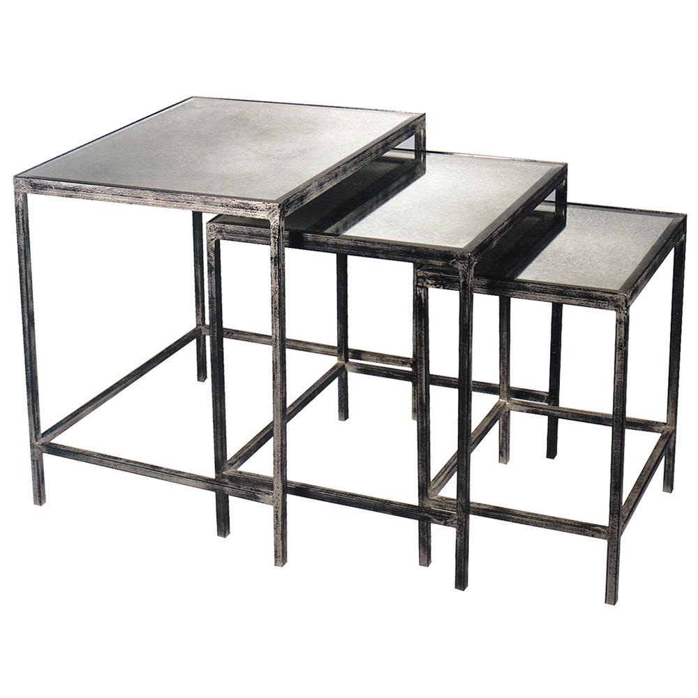 Oly Studio Jonathan Antique Silver Mirrored Nesting Tables 3 Kathy Kuo Home
