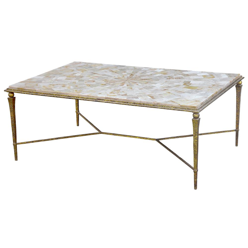 Antique Gold Coffee Table: Oly Studio Yves Shell Antique Gold Coffee Table