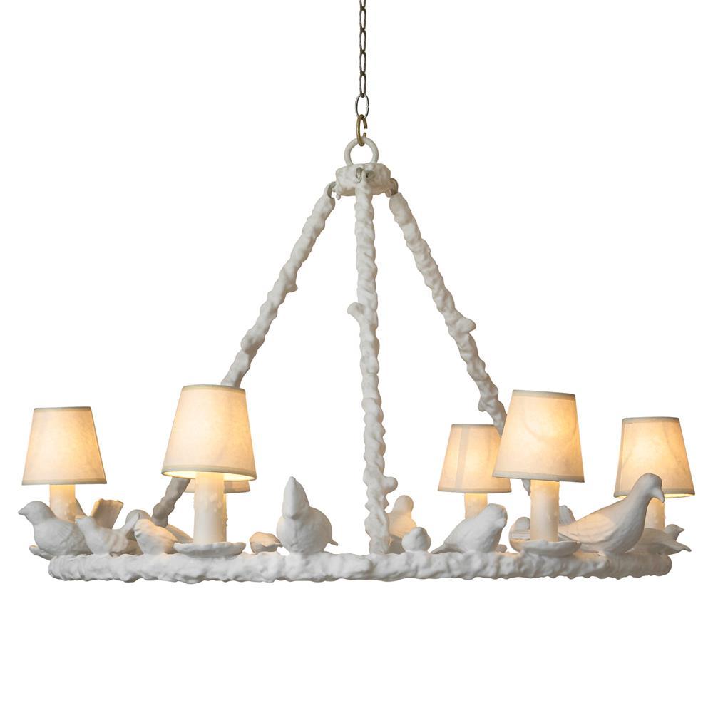 Bird Chandelier Lighting: Oly Studio Frost White Bird Chandelier - 37.75D