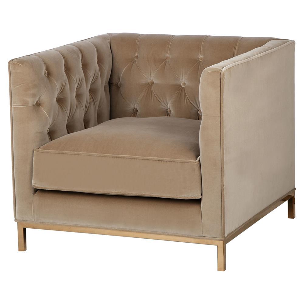 Kelly Hoppen Vinci Regency Fawn Mohair Tufted Cube Armchair