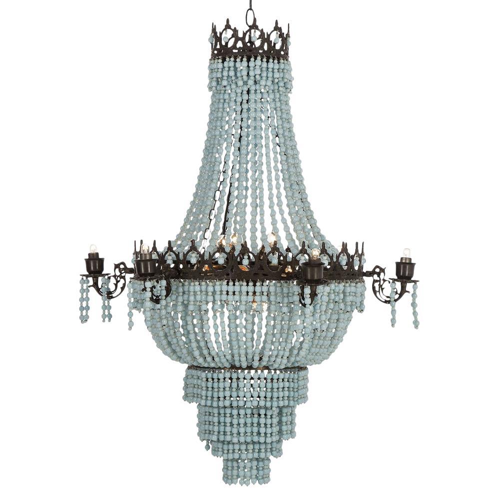 resource decor soho global bazaar beaded sky blue chandelier
