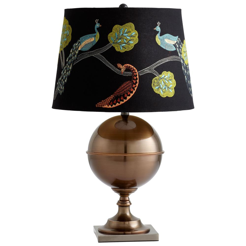 Exceptional Vanderbilt Embroidered Peacock On Branch Antique Brass Table Lamp | Kathy  Kuo Home