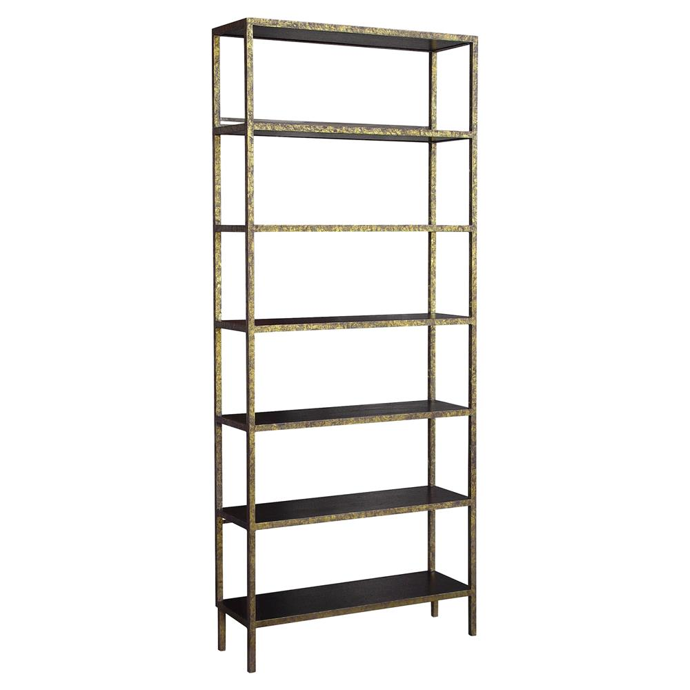 oly studio stella antique gold dark brown etagere 94h kathy kuo home. Black Bedroom Furniture Sets. Home Design Ideas