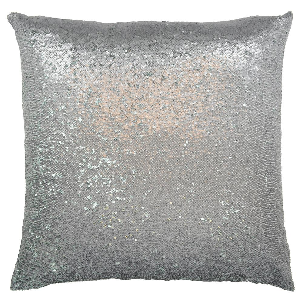 Modern Silver Pillows : Finn Modern Silver Sequin Baby Mermaid Pillow - 20x20 Kathy Kuo Home