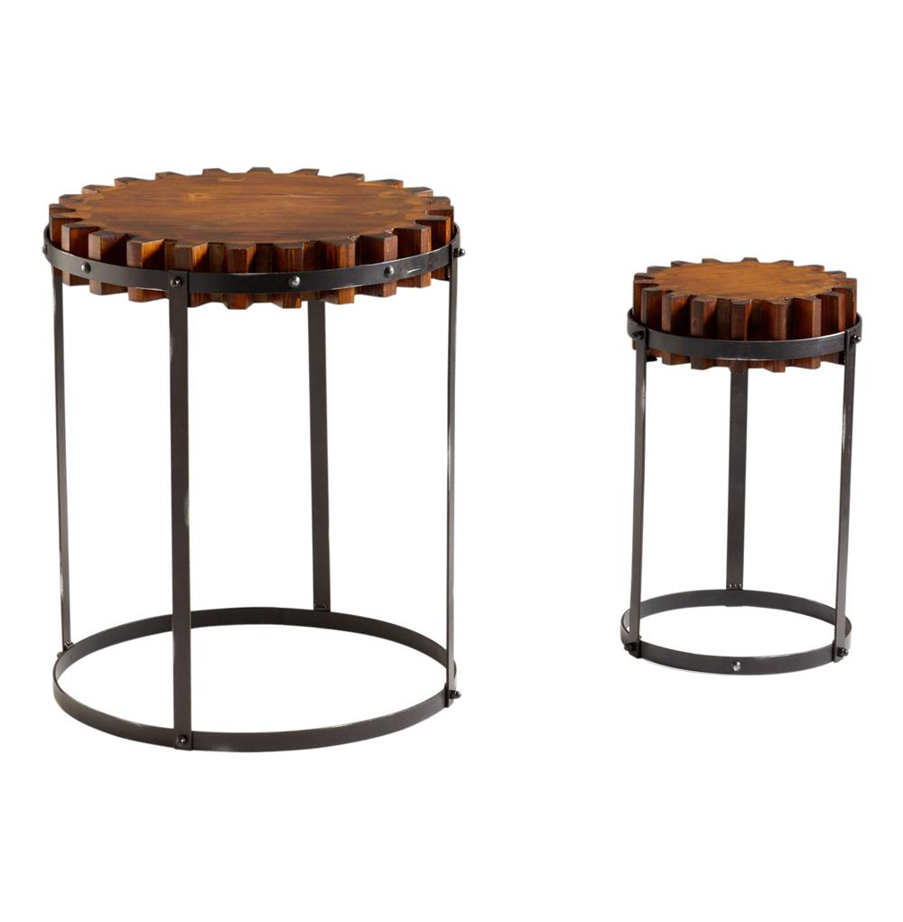 Set of 2 landry rustic wood farmhouse gear end tables for Rustic wood accent tables