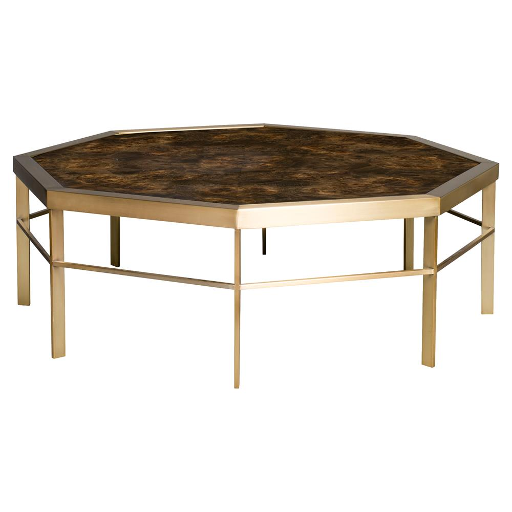 Vanguard Tranquility Regency Brown Satin Brass Octagon Coffee Table | Kathy  Kuo Home ...