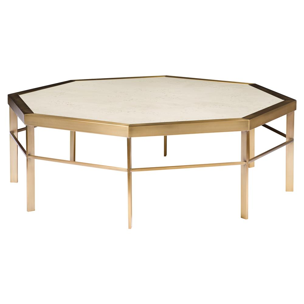 Thea regency ivory satin brass octagon coffee table for Octagon coffee table