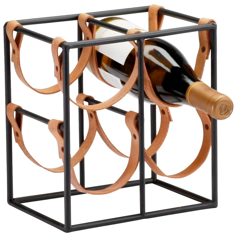Small Brighton Rustic Farmhouse Iron Leather Wine Rack Holder Kathy Kuo Home