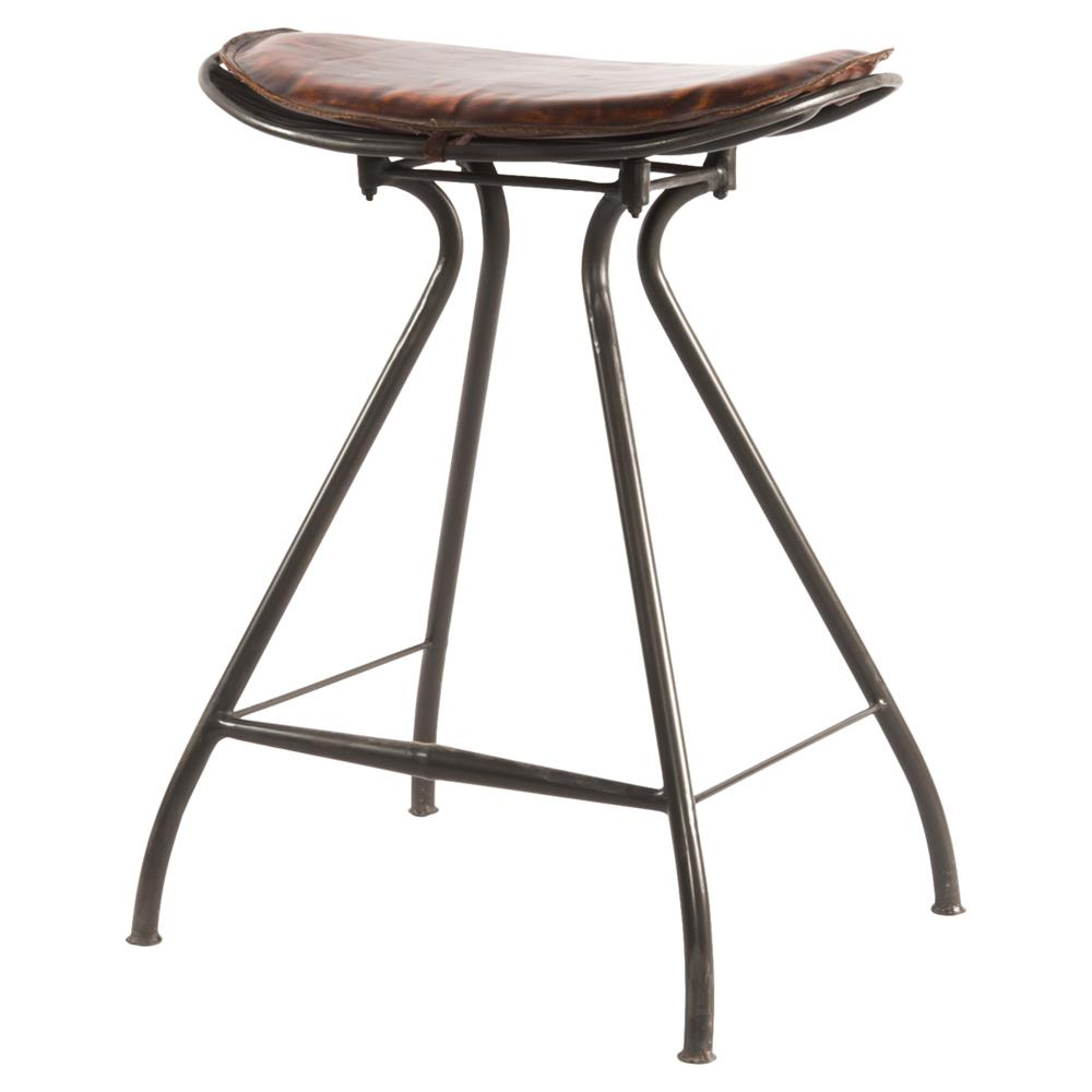 Philart Loft Brown Leather Iron Counter Stool Kathy Kuo Home