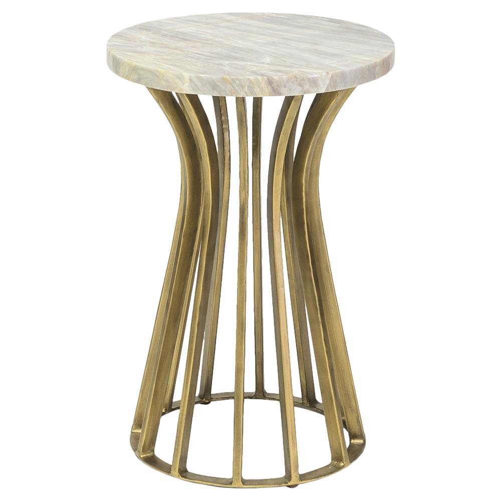 palecek delphi regency gold iron round marble end table. Black Bedroom Furniture Sets. Home Design Ideas