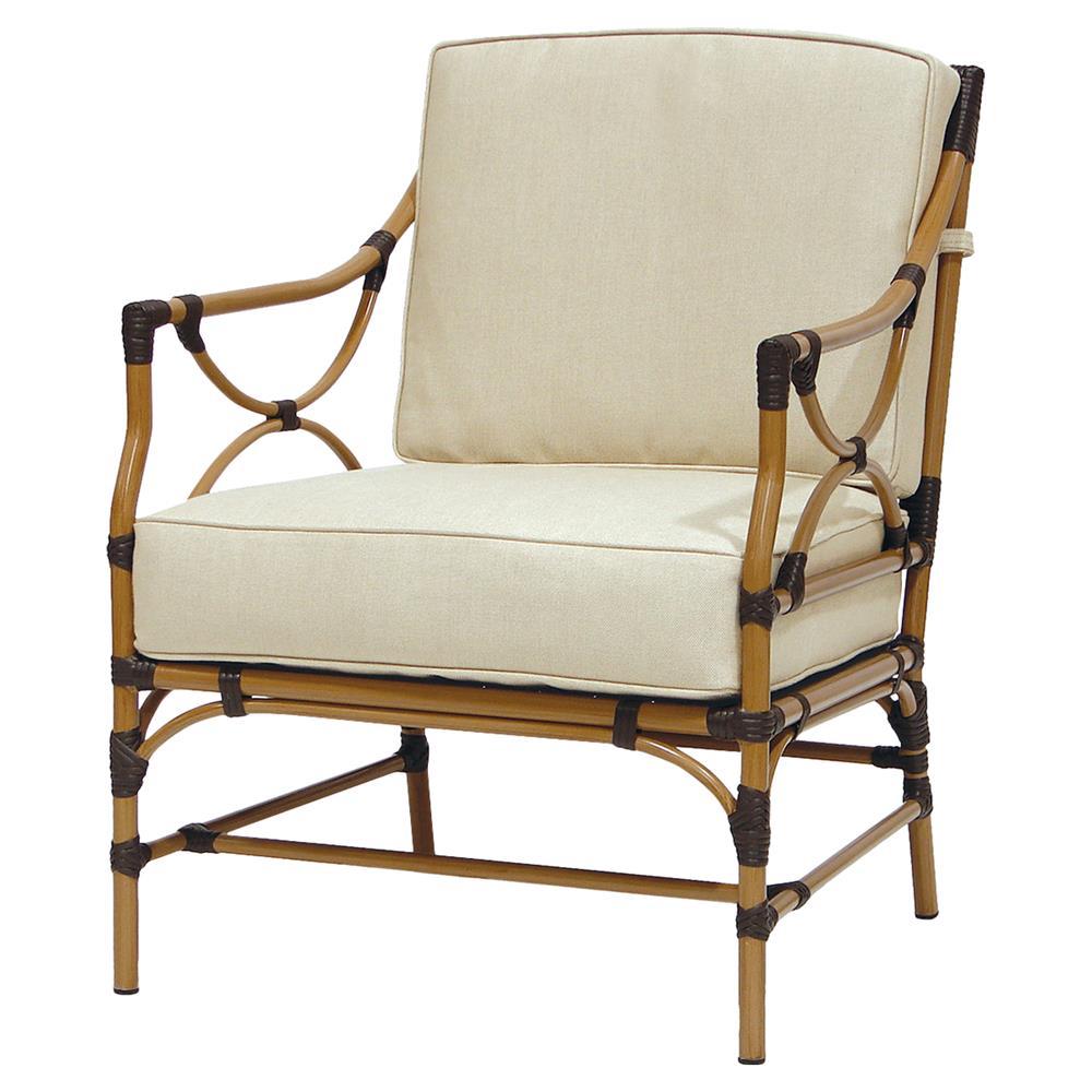 Palecek Arena Bazaar Brushed Rattan Outdoor Lounge Chair | Kathy Kuo Home