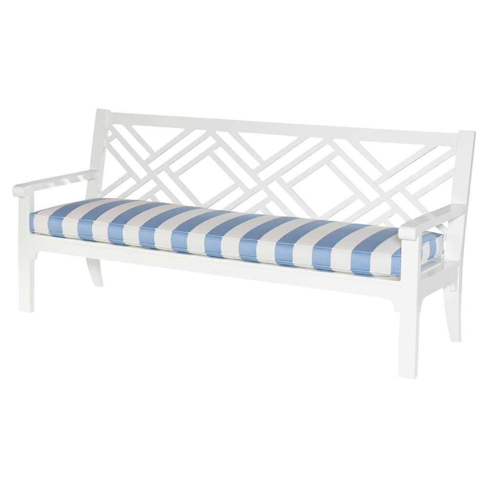 Elyse Blue Stripe White Outdoor Chippendale Bench Kathy Kuo Home