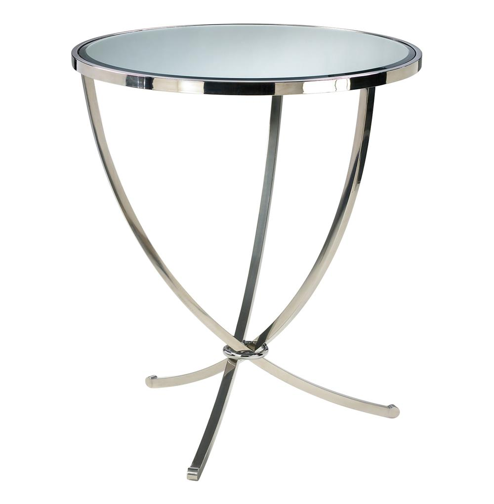 Nuovo silver contemporary mirrored pedestal entry table for Modern accent tables