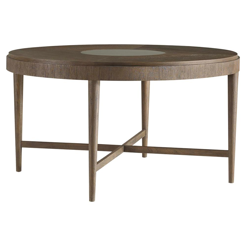 anakin lodge industrial round teak dining table 54d kathy kuo home. Black Bedroom Furniture Sets. Home Design Ideas