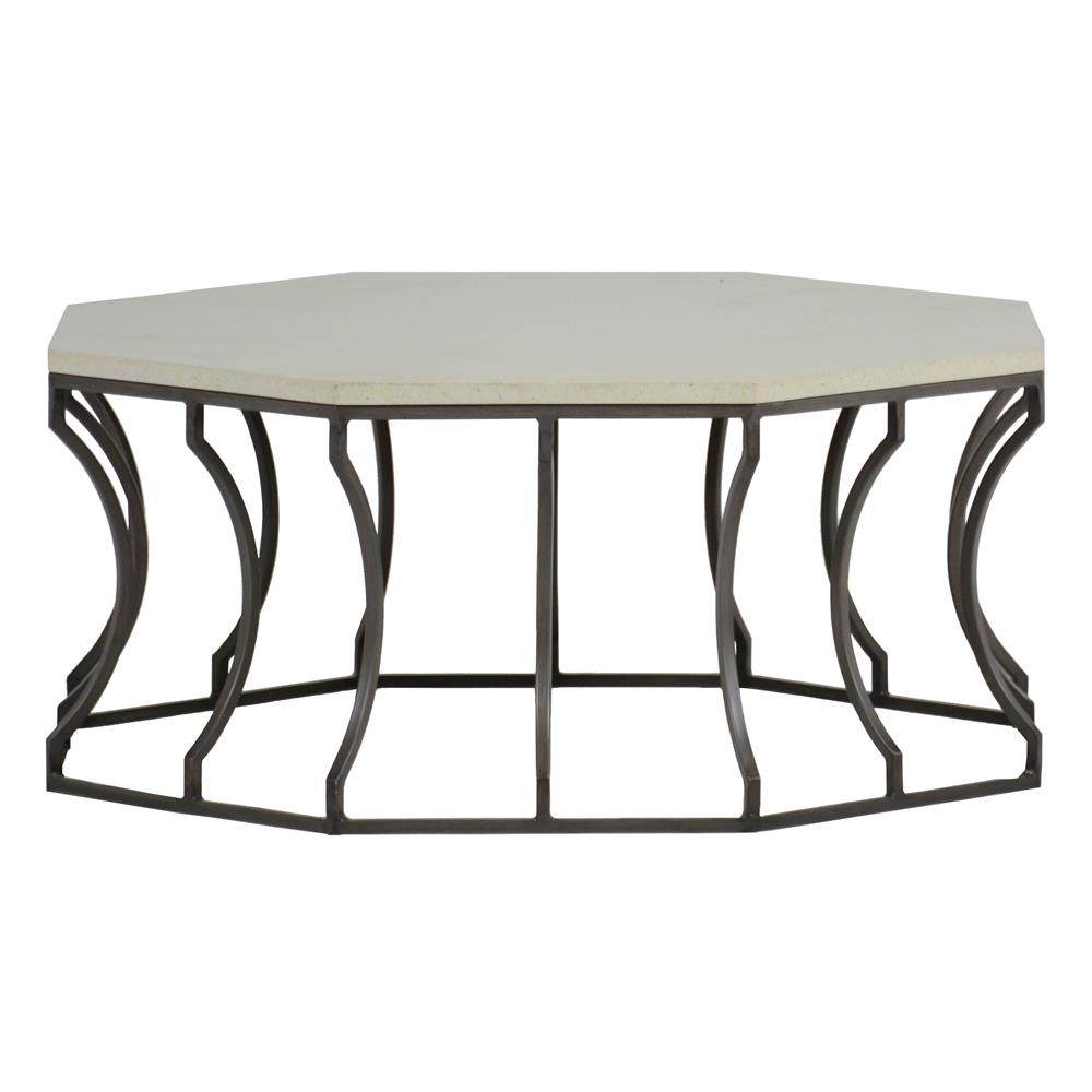 Summer Clics Audrey Grey Travertine Outdoor Coffee Table Kathy Kuo Home