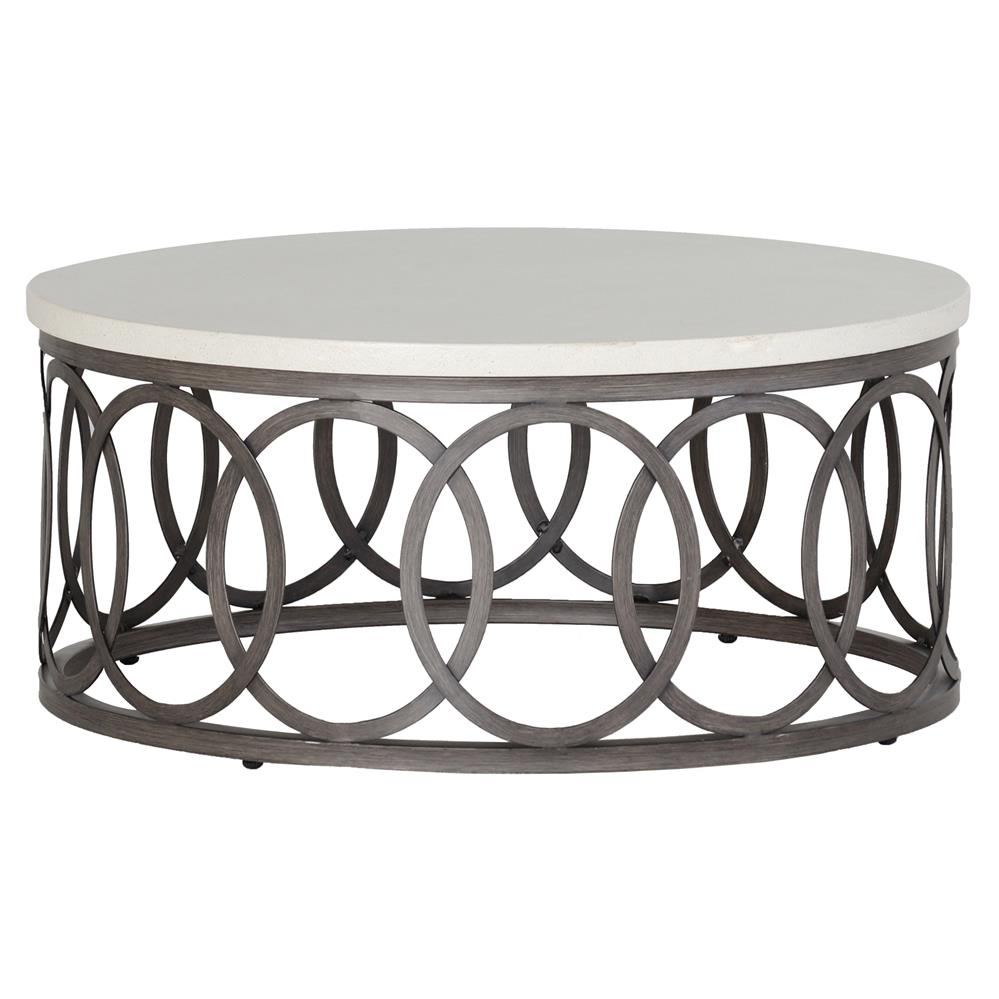 Summer Clics Ella Oval Interlock Ivory Outdoor Coffee Table Kathy Kuo Home