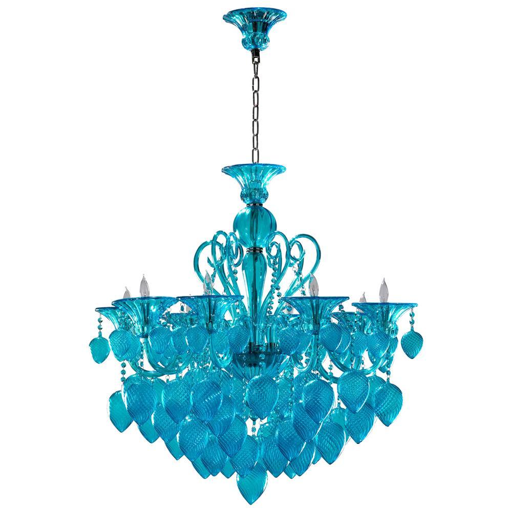 Bella Vetro Light Blue Aqua Murano Glass 8 Light Ornament