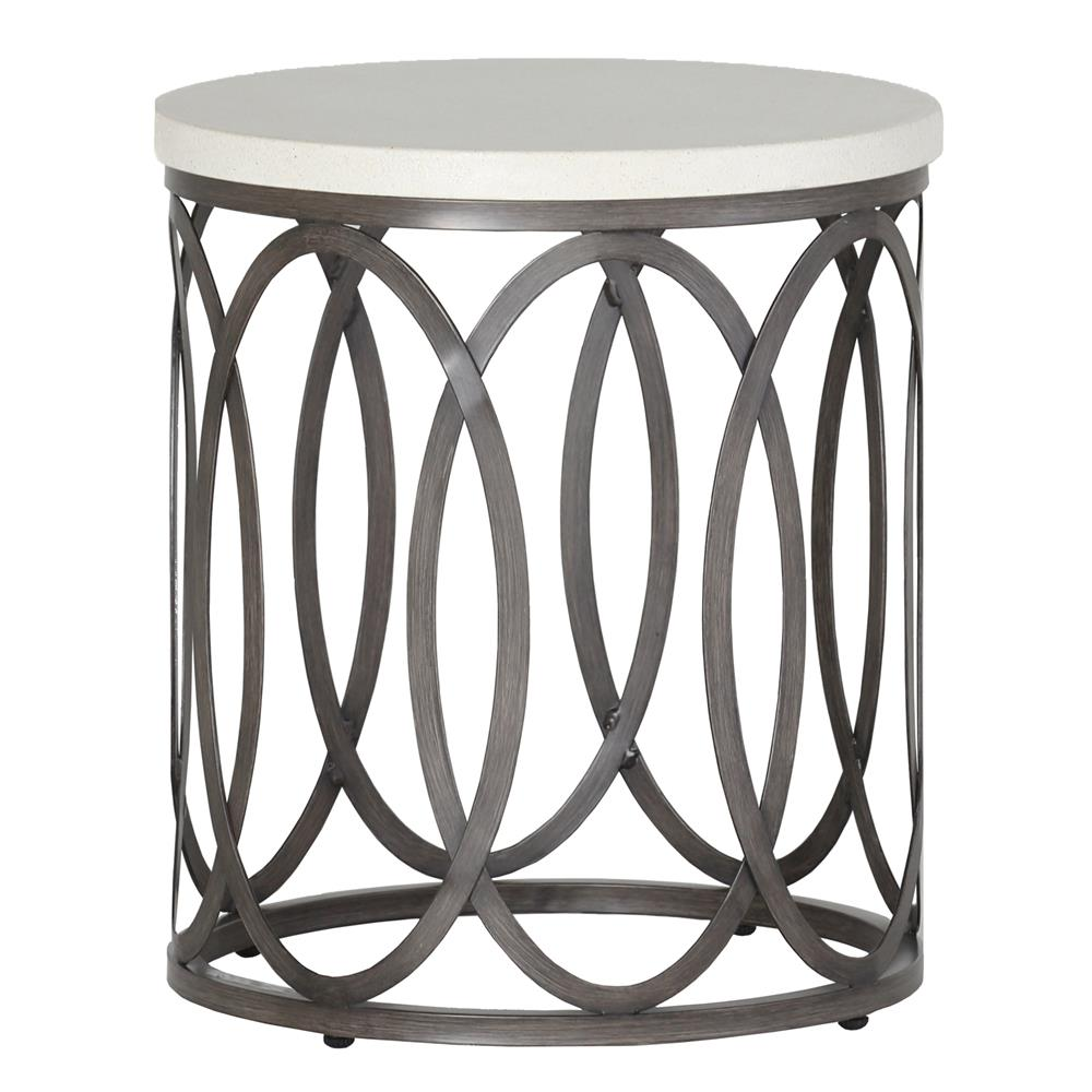 Summer Classics Ella Oval Interlock Ivory Outdoor End Table   Kathy Kuo  Home ...