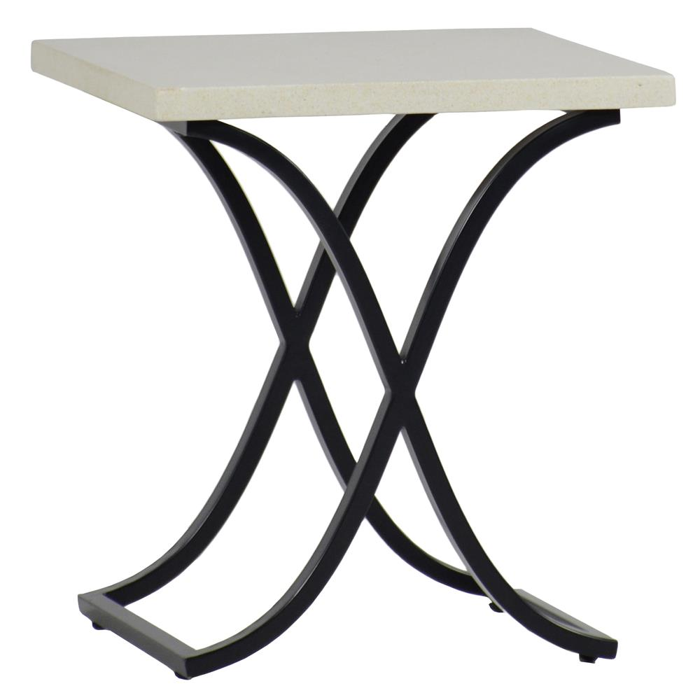 Summer Clics Marco Ivory Travertine Black Outdoor End Table Kathy Kuo Home