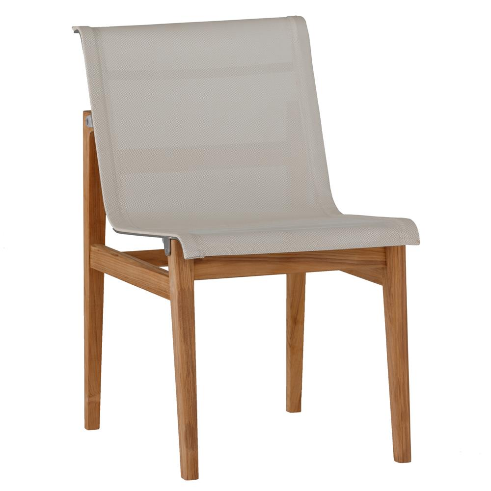 Summer Clics Coast Teak Sling Canvas Outdoor Side Chair Kathy Kuo Home