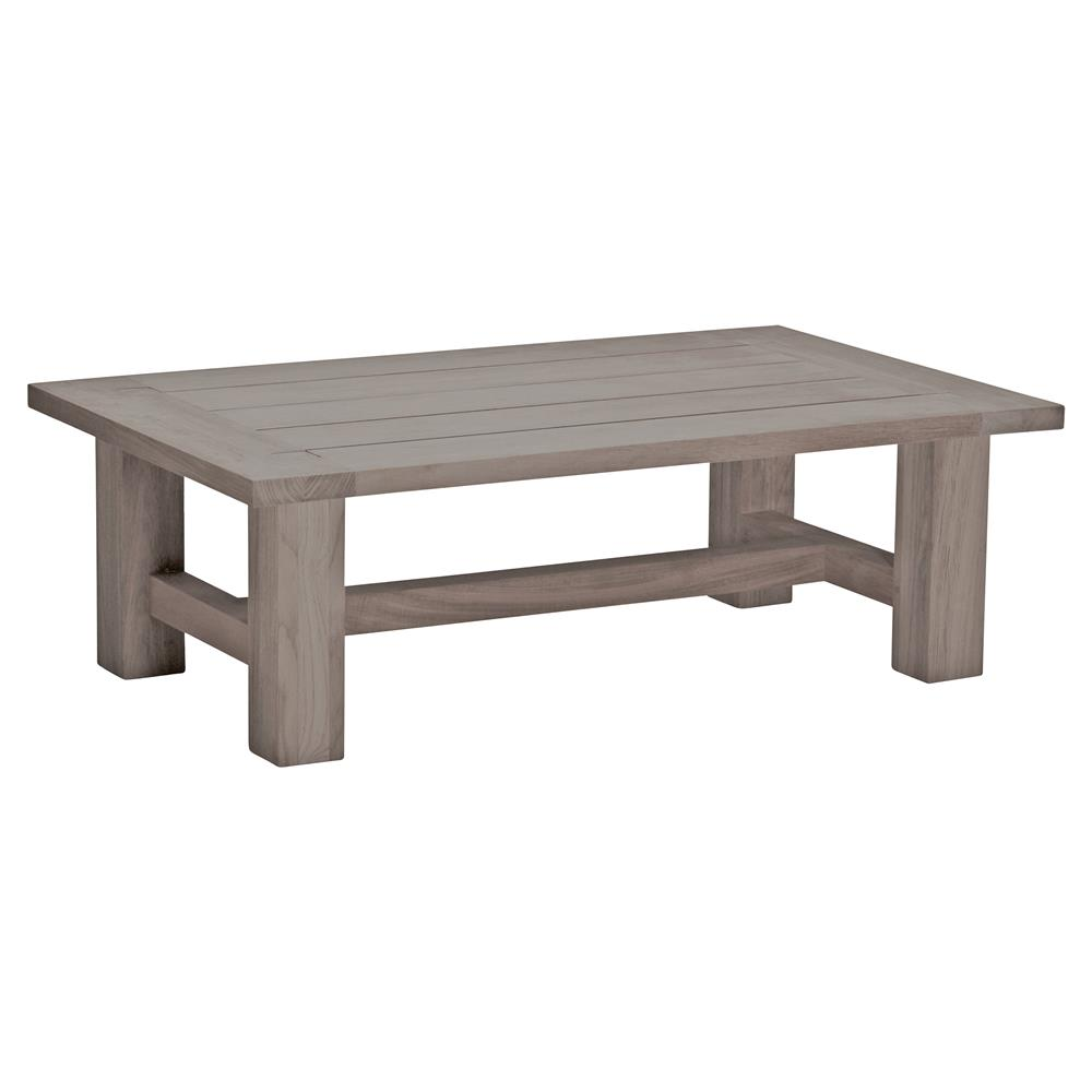 Summer Clics Croquet Weathered Grey Teak Outdoor Coffee Table Kathy Kuo Home