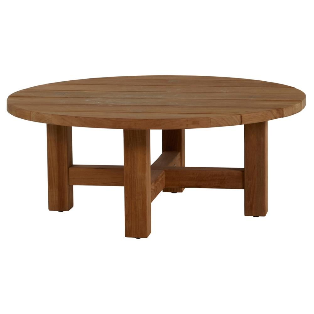 Low Round Teak Coffee Table: Summer Classics Croquet Natural Teak Round Outdoor Coffee